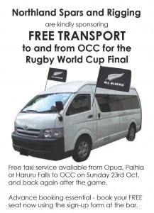 Free transport to RWC final at OCC